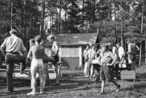 Samling foran hytta